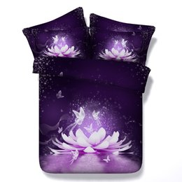 3d full bedding set butterfly Canada - 4 Styles Sexy Purple Water Lotus 3D Printed Bedding Sets Twin Full Queen King Size Bedspreads Duvet Covers Flower Butterflies Animal 3 4pcs