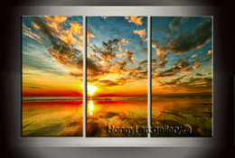$enCountryForm.capitalKeyWord NZ - 3 Panel Gift Large Modern Contemporary Australia Keppel sunset Seascape Painting HD Picture Giclee Print Wall Room Printed on Canvas abt109