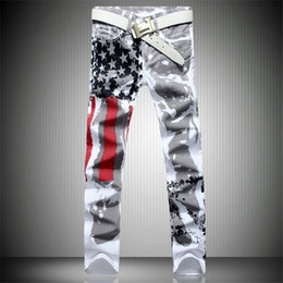 men star print jeans NZ - Wholesale- Mens Printed Jeans Plus Size Flag Printing Design White Jeans For Men Stars Striped Straight Ripped Jeans Male 36 Free Shipping