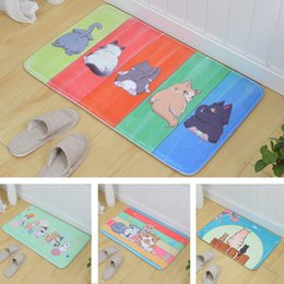 Kids Flannel Floor Cartoon Cat Striped Bathroom Carpet Welcome Long Tapete  Door Kitchen Mat Large Area Rugs Doormat Entrance