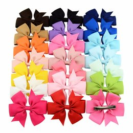 Barato Hairbows Inch Inch-Atacado- 20pcs / lot 3 Inch Boutique Grosgrain Ribbon HairBow Baby Hairbows Girl Cabelo Arcos com clip Kids Hair Clips Hair Accessories 564