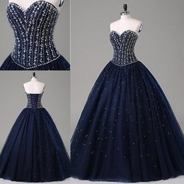 Robes Gonflées Douces 16 Pas Cher-Stunning Sweet 16 Robes Quinceanera Robes Puffy Dark Navy Blue Sweetheart Sans manches Corset Lace-up Back Sequins Beading Formal Gowns