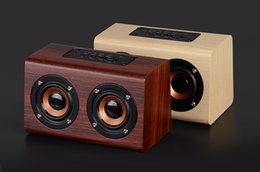 mobile stand wood 2019 - W7 Retro Wood HIFI 3D Dual Loudspeakers Bluetooth Wireless Speaker With Hands-free TF Card AUX IN for phones