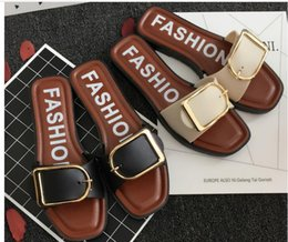women sexy flip flops 2019 - women's Slippers fashion rivets shoes girls sexy pointed toe Flat shoes buckle platform pumps wedding shoes sandals