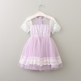 Élégante Robe Tutu Violet Pas Cher-Hot Summer 2017 Robe en dentelle fille élégante Princesse fille Vêtements tutu Gauze Fleur Fille Robes Party Dressy Purple A6911