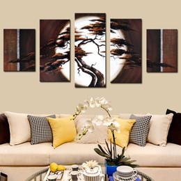 5 pcs set no framed pure hand printed oil paintings sets pine tree landscape canvas wall art bathroom decor landscape painting