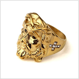 $enCountryForm.capitalKeyWord NZ - Fashion Gold Plated Steel Ice Out CZ 3D Christ Jesus Piece Bling Head Ring Hip Hop Rock Size 6-12 For Men's Gift