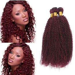$enCountryForm.capitalKeyWord NZ - Burgundy Brazilian Afro Kinky Curly Virgin Human Hair Weave Bundles Peruvian Indian Malaysian Cambodian Color 99J Red Remy Hair Extensions
