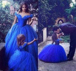 2017 royal blue toddler flower girls dresses for weddings short sleeves girl birthday party dress ball gown little girls pageant wear