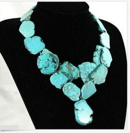Venta al por mayor de Colgante de 2 hilos mujer collar 20x35 mm turquesa natural piedra rebanada gruesa