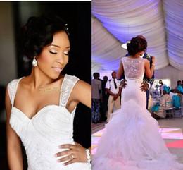 $enCountryForm.capitalKeyWord Canada - Modest Mermaid Bridal Gown Organza See Through Wedding Dresses 2019 Chapel Train Ruffles Cheap Bridal Gowns Custom Made Tiered Skirts