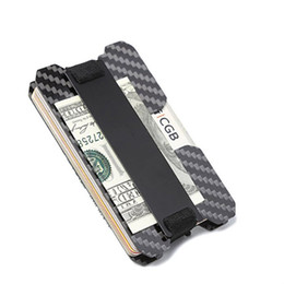 metal case credit cards Canada - Carbon Fiber Money Clip - UNIQUE RFID BLOCKING Credit Card Case Holder Slim Luxury gift Wallet free shipping