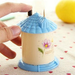Plastic Toothpick Wholesale Australia - Wholesale- New Arrival Creative House Shaped Automatic Toothpick Holder Pocket Small Toothpick Box