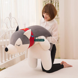 Giant stuffed animals for kids online shopping - Dorimytrader Pop Large cm Stuffed Animal Husky Doll Giant Cartoon Sleeping Dog Plush Toy Pillow Gift for Kids and Adults DY61572