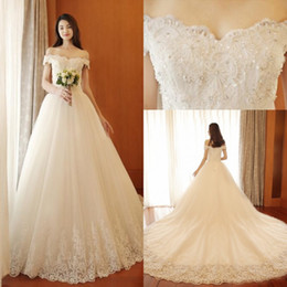 luxury bead pearl dress Australia - 2017 Luxury Lace Ball Gown Wedding Dresses Off-the-shoulder Beads Pearls Plus Size Wedding Dresses Custom Made Backless Lace Up Bridal Gowns