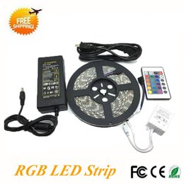LED Strip Light 5M Set SMD 5050 60pcs M RGB LED Strip Waterproof With 24  Keys Remote Controller+DC12V Power Supply Led Strips Rgb Set Waterproof For  Sale