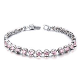 China Drop Shipping Fashion Bracelet Pink Cubic Zirconia Copper Bangle Jewelry All-match Accessories Women's Fashion Christmas Gift 19CM suppliers