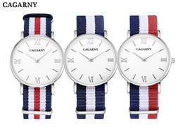 Brand Luxury Style Watch Canada - Cagarny Brand Luxury Watches Women Clock UK Style Quartz-Watch Womens Fashion Ladies Wristwatch Ultra-Thin Case Nylon Watchband