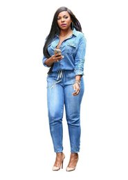 684910267d2 Wholesale- 2017 spring New Fashion Women Long Sleeve Jeans Jumpsuit  Handsome Deep V With Botton Rompers Full length Overalls Lady Plus Size
