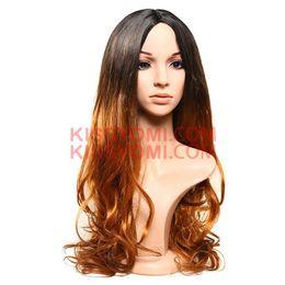 $enCountryForm.capitalKeyWord NZ - Women Synthetic Cheap Wig Capless Long Body Wave Medium Side Black Ombre Brown Lolita Drag Party Celebrity Wig