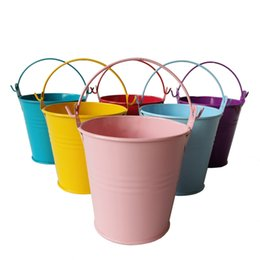 China D7.5*H7.5CM mixed colors Metal mini Pail Tin bucket Rustic Succlents Pots Decorative Galvanized Meat plant pot Iron pots suppliers