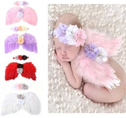 Wholesale Baby Kid Toddler Newborn Infant Feather Lace Headband Angel Wings Flowers Hairband Photo Props Costume Hair Band for Baby Girl