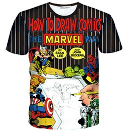 nice drawings UK - Draw comics T shirt Writer author short sleeve gown Super hero leisure tees Nice printing clothing Unisex cotton Tshirt