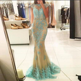 China Sexy O-Neck Tulle With Applique Long Evening Dresses 2017 Popular For Women Cap Sleeve Mermaid Prom Party Gowns In Formal cheap short occasion dresses women suppliers