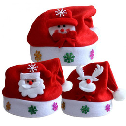 Reindeer Kids NZ - New Warm Pull Flannel Kids Cheer Christmas Hat Children Santa Claus Reindeer Snowman Xmas Party Snowflakes Cap Hot