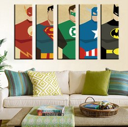 $enCountryForm.capitalKeyWord NZ - Oil Painting Watercolor Art Prints Poster Hipster Wall Picture Canvas Painting Cartoon Superman Kids Room Home Decor 5PCS