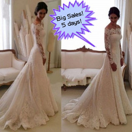 Barato Vestidos De Casamento Vintage Baratos-Hot Sale 2017 Vestidos de casamento modestos Full Lace Illusion Off the Shoulder Manga comprida Vestidos de noiva árabes Custom Made Cheap Bridal Gowns