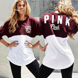 Barato Impressões De Letras-Pink Letter Printed Hoodie VS Women Sports Frenchterry Sweatshirts Pullover Tops O-Neck Patchwork High Copy OOA1138