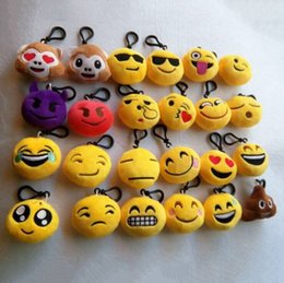6cm plush Canada - FREE SHIPPING BY DHL 1200pcs lot Cheapest 6cm Plush Emoji Keychains Mixed Emoji Keyrings for Gifts 20170708#