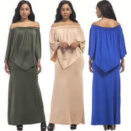 plus size dress code NZ - sexy, fashion, noble, youth, beautiful, big code Plus Size Maxi Dresses Casual Solid color Slash Neck Long Sleeve F3P002