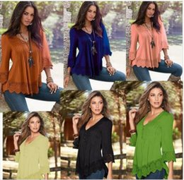 Femmes À Manches Longues Pas Cher-6 couleurs Big Children Girls Ruffled T-Shirt Femmes Long Elastic Sleeve Loose Blouse Tops Femmes T-Shirt Chiffon Clothing CCA7485 20pcs