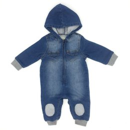 Barato Manga Longa Denim-Baby Boys Romper Denim Hooded Long Sleeve Patch Algodão Primavera Outono Inverno Infant Bodysuit Roupa infantil