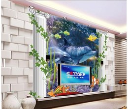 Love Backdrops UK - fashion decor home decoration for bedroom 3D stereo bottom world dolphin mother and son love deep TV backdrop wall