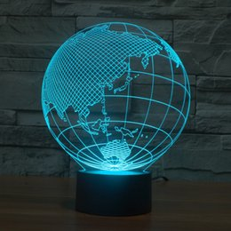 Discount mood led light Wholesale- 2016 Globe map 3D USB Led night light 7colors christmas gift mood lamp touch button kids living bedroom table