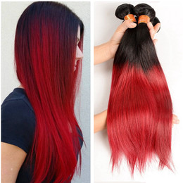russian black hair 2019 - Dark Root Black To Red Straight Human Hair Bundles 3Pcs Russian Human Virgin Hair Extensions Silk Straight Two Tone Red
