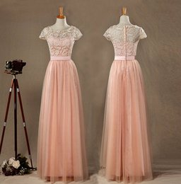 bridesmaid real picture NZ - Hot Sale Real Pictures Blush Tulle Lace Bridesmaid Dress Round Neck Short Sleeves Full Tulle skirt with Ruching Floor Length Elegant Dress,