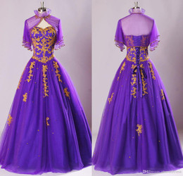 Robe De Soirée Broderie D'or Pas Cher-Purple and Gold Broderie Quinceanera Robes Robes de bal avec Sequined Beaded Tulle Corset Back Cheap Prom Robes de soirée Custom Custom