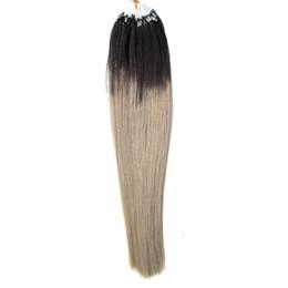 $enCountryForm.capitalKeyWord UK - 100g brazilian virgin Straight micro bead hair extensions T1B Gray Ombre human hair sticks 100s micro link human hair extensions