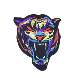 Chinese  Multicolor Tiger Patches for Clothing Iron on Transfer Applique Patch for Jacket Jeans DIY Sew on Embroidered Accessories Badge 1pcs manufacturers