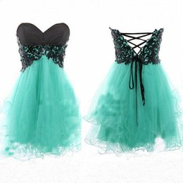 Wholesale Cheap mint green strapless homecoming dresses with black lace top corset back A line puffy mini short party prom dresses