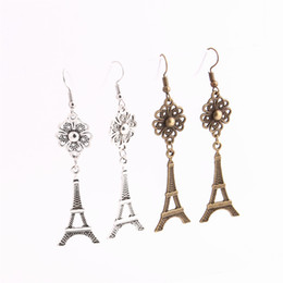 Chinese  12pcs lot Metal Alloy Zinc Flower Connector Eiffel tower Pendant Charm Drop Earing Diy Jewelry Making C0696 manufacturers