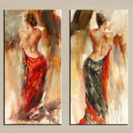 $enCountryForm.capitalKeyWord Canada - 2Panel Pure Handicrafts Modern Impressionist Art Oil Painting Flamenco Dancer Sexy Back,Home Decor High Quality Canvas size can customized