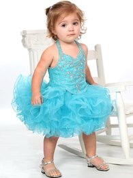 Wholesale Halter light blue beaded cheap baby girl mini short ball gown cupcake toddler little girls pageant dresses flower girl for weddings glitz