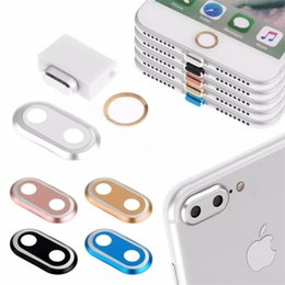 apple home button stickers Australia - For I 7PLUS Camera Lens Protector Ring Case & Touch ID Support Home Button sticker & Cable protector & Anti Dust Plug Set For I 7 7plus