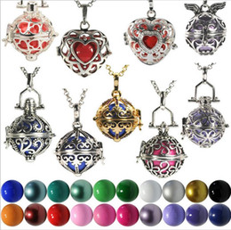 mexico silver jewelry Canada - 16 styles Mexico Pregnancy Bola Lockets Pendant necklace+ 16mm Sound bead ball Hollow Cage Necklaces for Women Pregnany Jewelry
