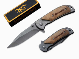 China Camping Hiking Hunting Knife Browning 338 Small Size Copy Damascus Tactical Folding Knife 440C 57HRC Gift Knives B214Q suppliers